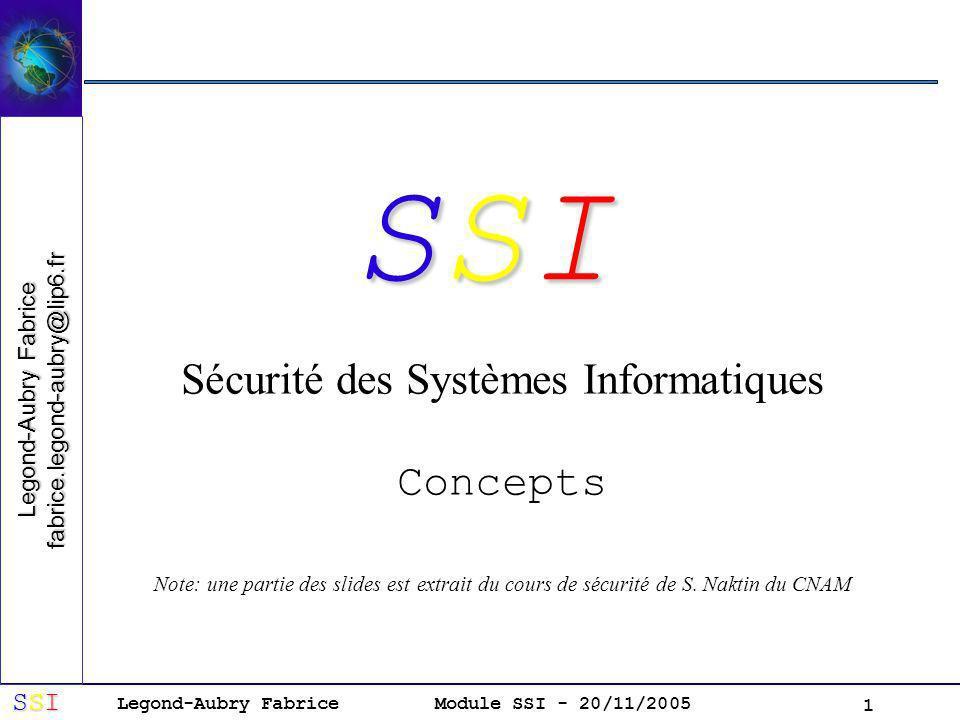 Legond-Aubry Fabrice SSISSISSISSI Module SSI - 20/11/2005 1 Sécurité des Systèmes Informatiques Concepts Note: une partie des slides est extrait du cours de sécurité de S.