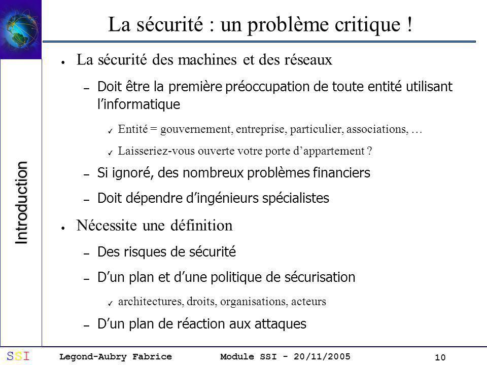 Legond-Aubry Fabrice SSISSISSISSI Module SSI - 20/11/2005 10 La sécurité : un problème critique .