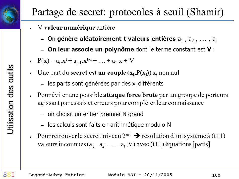 Legond-Aubry Fabrice SSISSISSISSI Module SSI - 20/11/2005 100 Partage de secret: protocoles à seuil (Shamir) V valeur numérique entière – On génère aléatoirement t valeurs entières a 1, a 2,...., a t – On leur associe un polynôme dont le terme constant est V : P(x) = a t.x t + a t-1.x t-1 +....