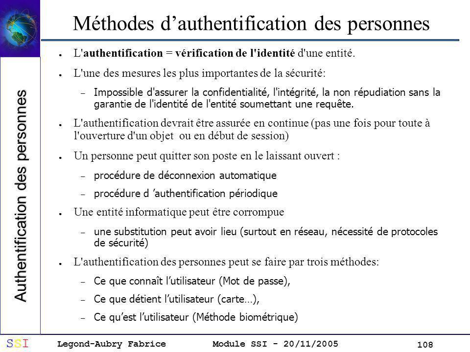 Legond-Aubry Fabrice SSISSISSISSI Module SSI - 20/11/2005 108 Méthodes dauthentification des personnes L authentification = vérification de l identité d une entité.