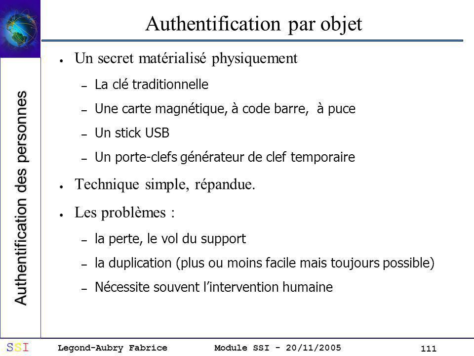 Legond-Aubry Fabrice SSISSISSISSI Module SSI - 20/11/2005 111 Authentification par objet Un secret matérialisé physiquement – La clé traditionnelle – Une carte magnétique, à code barre, à puce – Un stick USB – Un porte-clefs générateur de clef temporaire Technique simple, répandue.