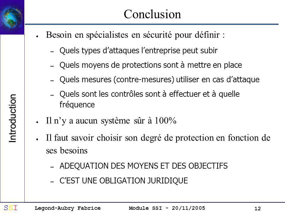 Legond-Aubry Fabrice SSISSISSISSI Module SSI - 20/11/2005 12 Conclusion Besoin en spécialistes en sécurité pour définir : – Quels types dattaques lentreprise peut subir – Quels moyens de protections sont à mettre en place – Quels mesures (contre-mesures) utiliser en cas dattaque – Quels sont les contrôles sont à effectuer et à quelle fréquence Il ny a aucun système sûr à 100% Il faut savoir choisir son degré de protection en fonction de ses besoins – ADEQUATION DES MOYENS ET DES OBJECTIFS – CEST UNE OBLIGATION JURIDIQUE Introduction