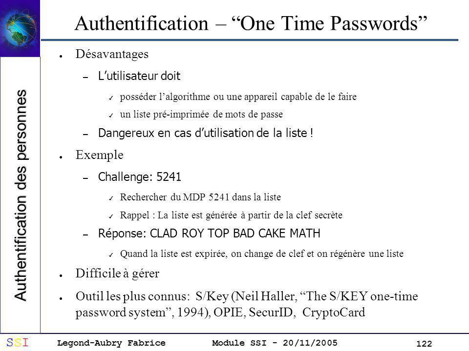 Legond-Aubry Fabrice SSISSISSISSI Module SSI - 20/11/2005 122 Authentification – One Time Passwords Désavantages – Lutilisateur doit posséder lalgorithme ou une appareil capable de le faire un liste pré-imprimée de mots de passe – Dangereux en cas dutilisation de la liste .