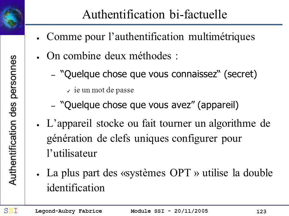 Legond-Aubry Fabrice SSISSISSISSI Module SSI - 20/11/2005 123 Authentification bi-factuelle Comme pour lauthentification multimétriques On combine deux méthodes : – Quelque chose que vous connaissez (secret) ie un mot de passe – Quelque chose que vous avez (appareil) Lappareil stocke ou fait tourner un algorithme de génération de clefs uniques configurer pour lutilisateur La plus part des «systèmes OPT » utilise la double identification Authentification des personnes