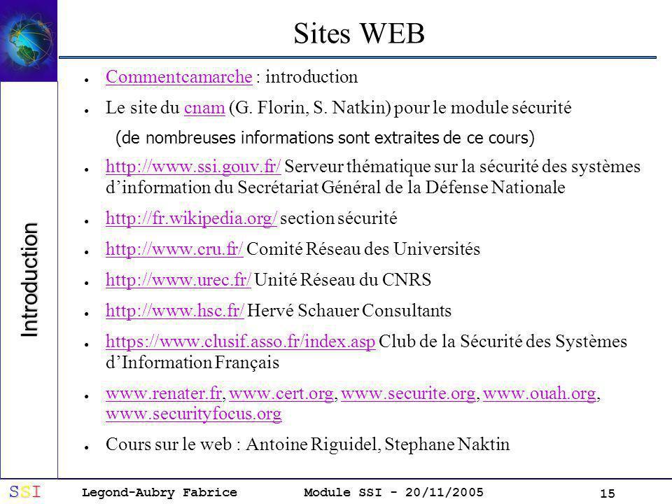 Legond-Aubry Fabrice SSISSISSISSI Module SSI - 20/11/2005 15 Sites WEB Commentcamarche : introduction Commentcamarche Le site du cnam (G.