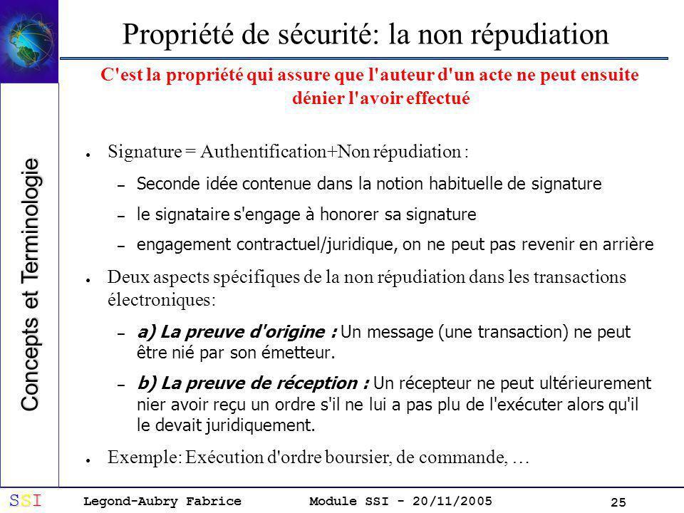 Legond-Aubry Fabrice SSISSISSISSI Module SSI - 20/11/2005 25 Propriété de sécurité: la non répudiation C est la propriété qui assure que l auteur d un acte ne peut ensuite dénier l avoir effectué Signature = Authentification+Non répudiation : – Seconde idée contenue dans la notion habituelle de signature – le signataire s engage à honorer sa signature – engagement contractuel/juridique, on ne peut pas revenir en arrière Deux aspects spécifiques de la non répudiation dans les transactions électroniques: – a) La preuve d origine : Un message (une transaction) ne peut être nié par son émetteur.