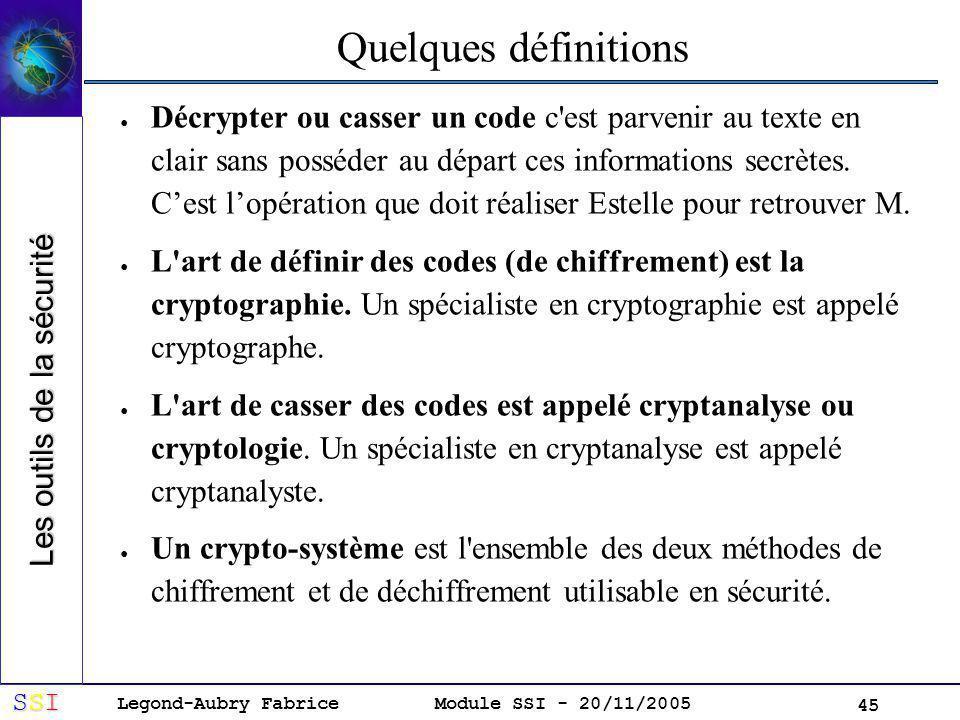 Legond-Aubry Fabrice SSISSISSISSI Module SSI - 20/11/2005 45 Quelques définitions Décrypter ou casser un code c est parvenir au texte en clair sans posséder au départ ces informations secrètes.