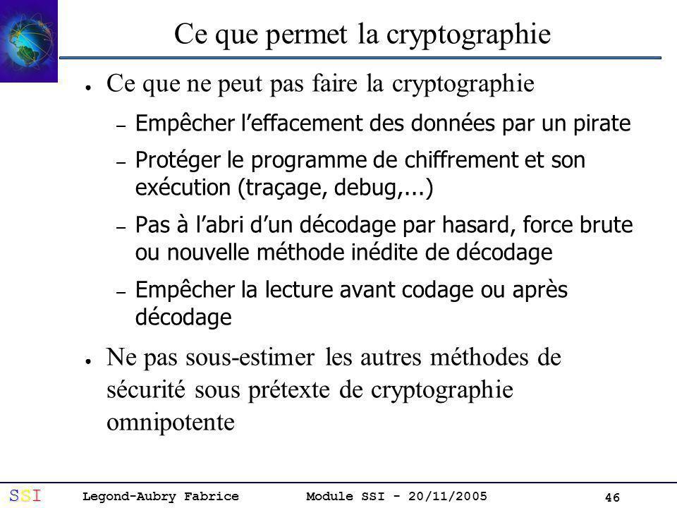 Legond-Aubry Fabrice SSISSISSISSI Module SSI - 20/11/2005 46 Ce que permet la cryptographie Ce que ne peut pas faire la cryptographie – Empêcher leffacement des données par un pirate – Protéger le programme de chiffrement et son exécution (traçage, debug,...) – Pas à labri dun décodage par hasard, force brute ou nouvelle méthode inédite de décodage – Empêcher la lecture avant codage ou après décodage Ne pas sous-estimer les autres méthodes de sécurité sous prétexte de cryptographie omnipotente