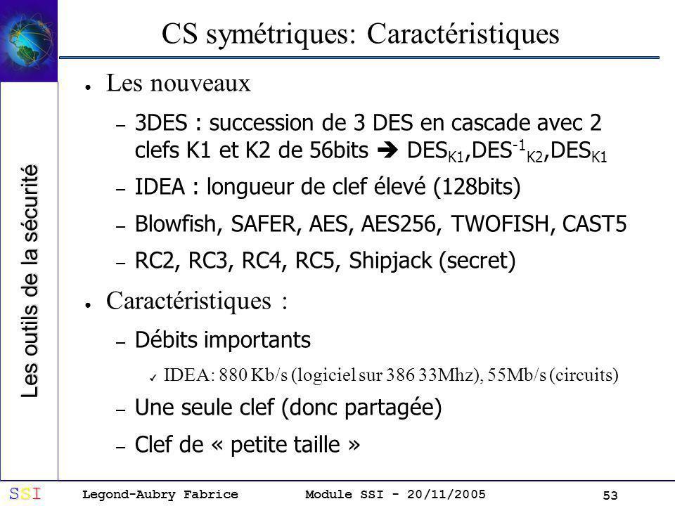 Legond-Aubry Fabrice SSISSISSISSI Module SSI - 20/11/2005 53 CS symétriques: Caractéristiques Les nouveaux – 3DES : succession de 3 DES en cascade avec 2 clefs K1 et K2 de 56bits DES K1,DES -1 K2,DES K1 – IDEA : longueur de clef élevé (128bits) – Blowfish, SAFER, AES, AES256, TWOFISH, CAST5 – RC2, RC3, RC4, RC5, Shipjack (secret) Caractéristiques : – Débits importants IDEA: 880 Kb/s (logiciel sur 386 33Mhz), 55Mb/s (circuits) – Une seule clef (donc partagée) – Clef de « petite taille » Les outils de la sécurité
