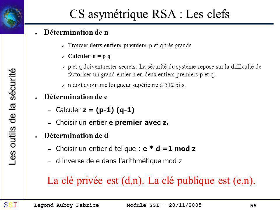 Legond-Aubry Fabrice SSISSISSISSI Module SSI - 20/11/2005 56 CS asymétrique RSA : Les clefs Détermination de n Trouver deux entiers premiers p et q très grands Calculer n = p q p et q doivent rester secrets: La sécurité du système repose sur la difficulté de factoriser un grand entier n en deux entiers premiers p et q.