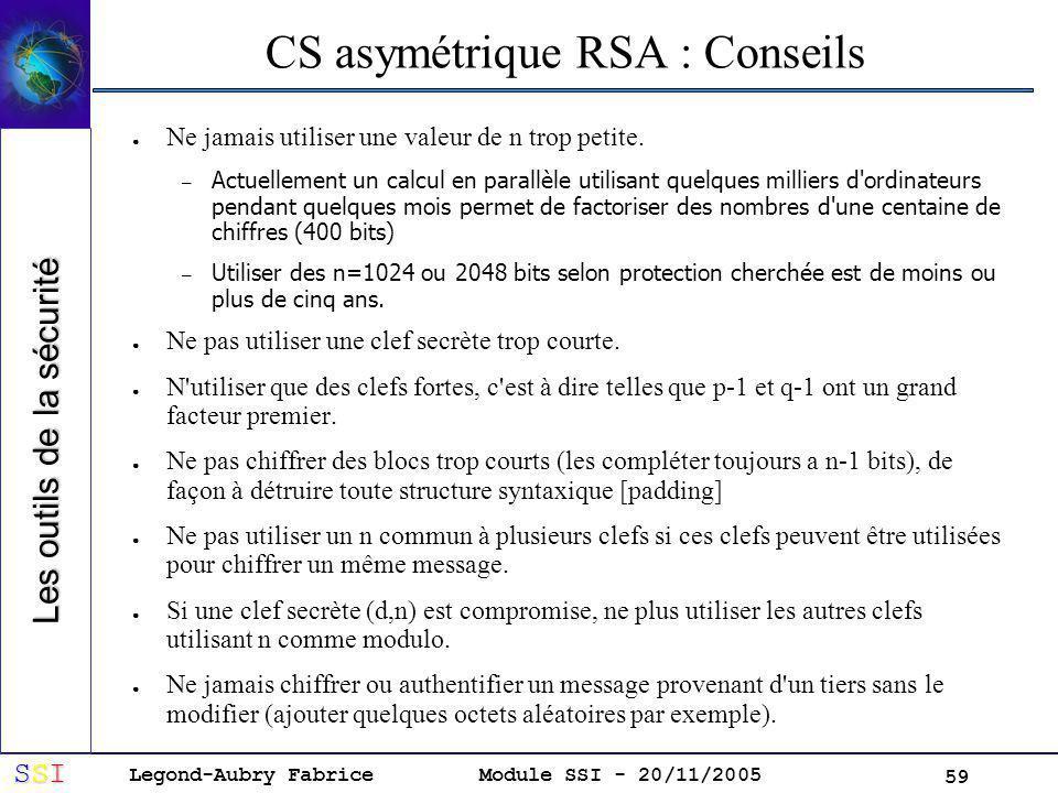 Legond-Aubry Fabrice SSISSISSISSI Module SSI - 20/11/2005 59 CS asymétrique RSA : Conseils Ne jamais utiliser une valeur de n trop petite.