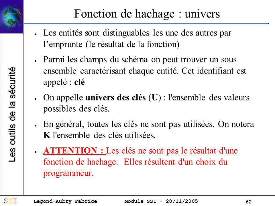 Legond-Aubry Fabrice SSISSISSISSI Module SSI - 20/11/2005 62 Les entités sont distinguables les une des autres par lemprunte (le résultat de la fonction) Parmi les champs du schéma on peut trouver un sous ensemble caractérisant chaque entité.