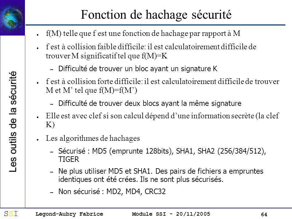 Legond-Aubry Fabrice SSISSISSISSI Module SSI - 20/11/2005 64 Fonction de hachage sécurité f(M) telle que f est une fonction de hachage par rapport à M f est à collision faible difficile: il est calculatoirement difficile de trouver M significatif tel que f(M)=K – Difficulté de trouver un bloc ayant un signature K f est à collision forte difficile: il est calculatoirement difficile de trouver M et M tel que f(M)=f(M) – Difficulté de trouver deux blocs ayant la même signature Elle est avec clef si son calcul dépend dune information secrète (la clef K) Les algorithmes de hachages – Sécurisé : MD5 (emprunte 128bits), SHA1, SHA2 (256/384/512), TIGER – Ne plus utiliser MD5 et SHA1.