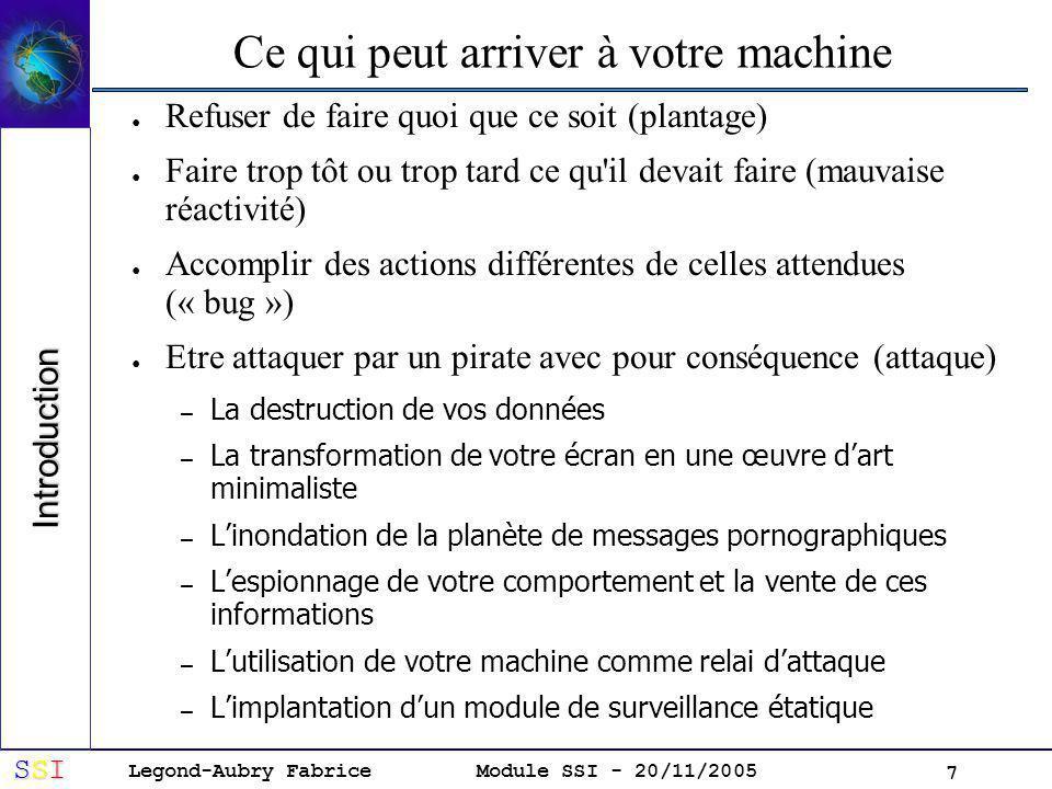 Legond-Aubry Fabrice SSISSISSISSI Module SSI - 20/11/2005 7 Ce qui peut arriver à votre machine Refuser de faire quoi que ce soit (plantage) Faire trop tôt ou trop tard ce qu il devait faire (mauvaise réactivité) Accomplir des actions différentes de celles attendues (« bug ») Etre attaquer par un pirate avec pour conséquence (attaque) – La destruction de vos données – La transformation de votre écran en une œuvre dart minimaliste – Linondation de la planète de messages pornographiques – Lespionnage de votre comportement et la vente de ces informations – Lutilisation de votre machine comme relai dattaque – Limplantation dun module de surveillance étatique Introduction