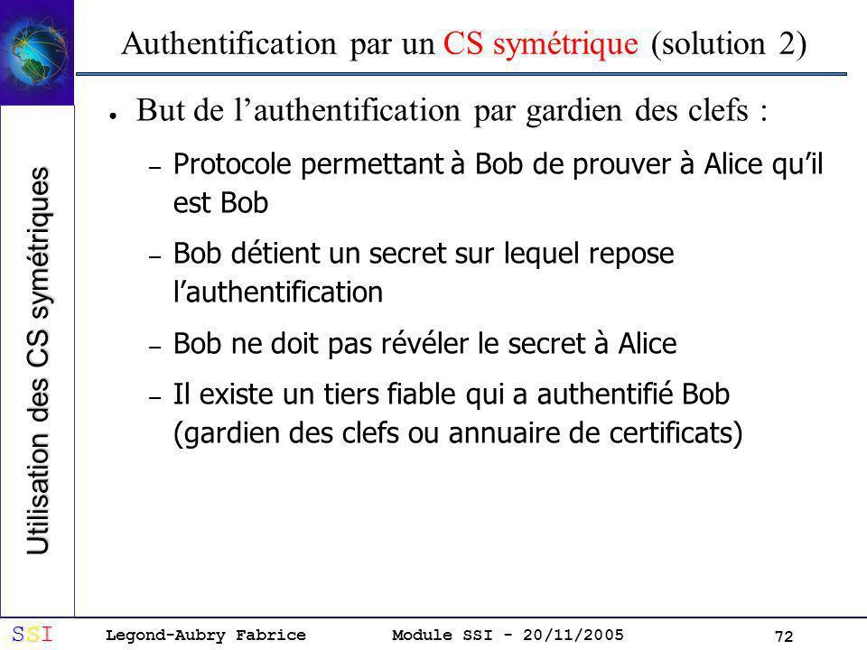 Legond-Aubry Fabrice SSISSISSISSI Module SSI - 20/11/2005 72 Authentification par un CS symétrique (solution 2) But de lauthentification par gardien des clefs : – Protocole permettant à Bob de prouver à Alice quil est Bob – Bob détient un secret sur lequel repose lauthentification – Bob ne doit pas révéler le secret à Alice – Il existe un tiers fiable qui a authentifié Bob (gardien des clefs ou annuaire de certificats) Utilisation des CS symétriques