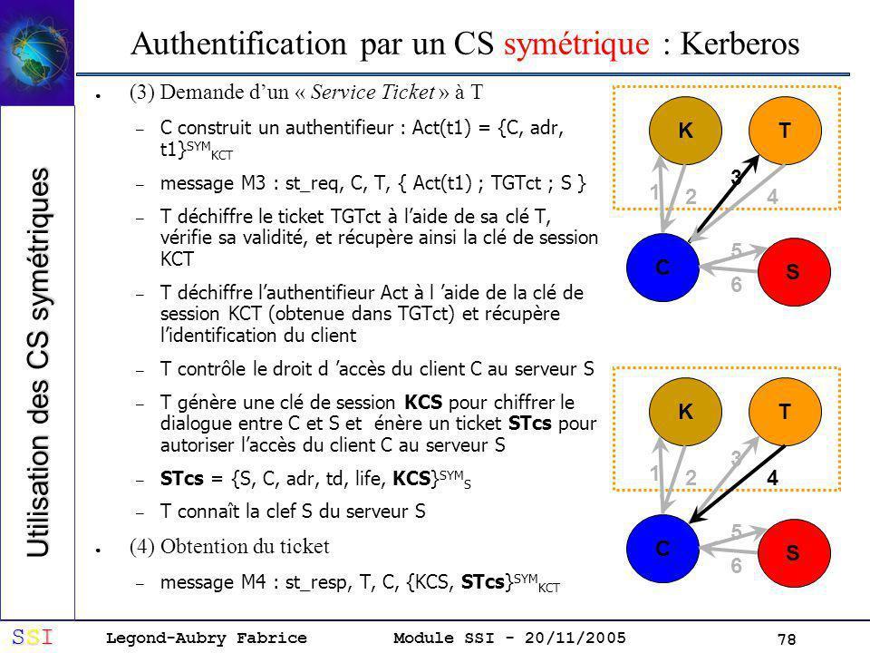 Legond-Aubry Fabrice SSISSISSISSI Module SSI - 20/11/2005 78 Authentification par un CS symétrique : Kerberos (3) Demande dun « Service Ticket » à T – C construit un authentifieur : Act(t1) = {C, adr, t1} SYM KCT – message M3 : st_req, C, T, { Act(t1) ; TGTct ; S } – T déchiffre le ticket TGTct à laide de sa clé T, vérifie sa validité, et récupère ainsi la clé de session KCT – T déchiffre lauthentifieur Act à l aide de la clé de session KCT (obtenue dans TGTct) et récupère lidentification du client – T contrôle le droit d accès du client C au serveur S – T génère une clé de session KCS pour chiffrer le dialogue entre C et S et énère un ticket STcs pour autoriser laccès du client C au serveur S – STcs = {S, C, adr, td, life, KCS} SYM S – T connaît la clef S du serveur S (4) Obtention du ticket – message M4 : st_resp, T, C, {KCS, STcs} SYM KCT KT C S 1 2 3 4 5 6 KT C S 1 2 3 4 5 6 Utilisation des CS symétriques