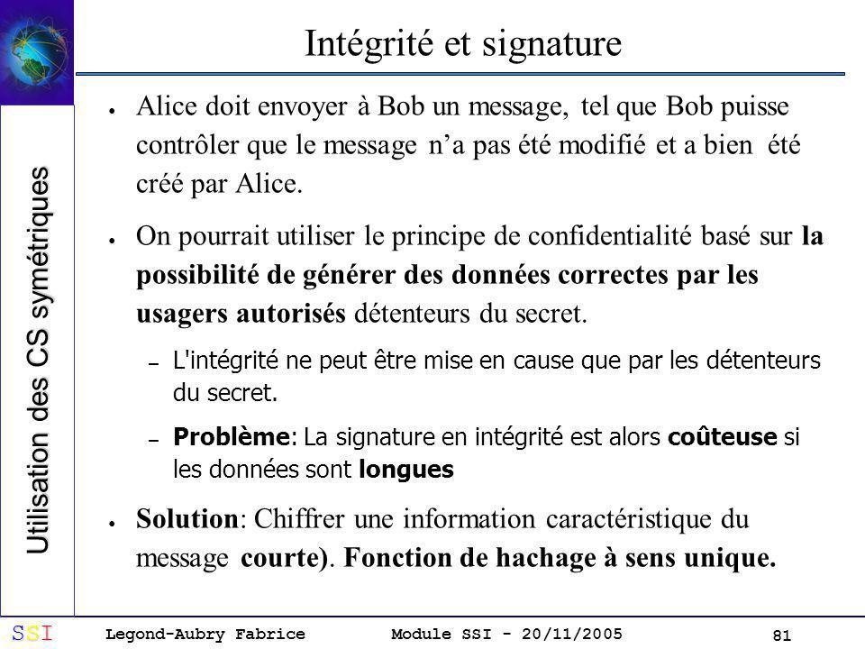 Legond-Aubry Fabrice SSISSISSISSI Module SSI - 20/11/2005 81 Intégrité et signature Alice doit envoyer à Bob un message, tel que Bob puisse contrôler que le message na pas été modifié et a bien été créé par Alice.