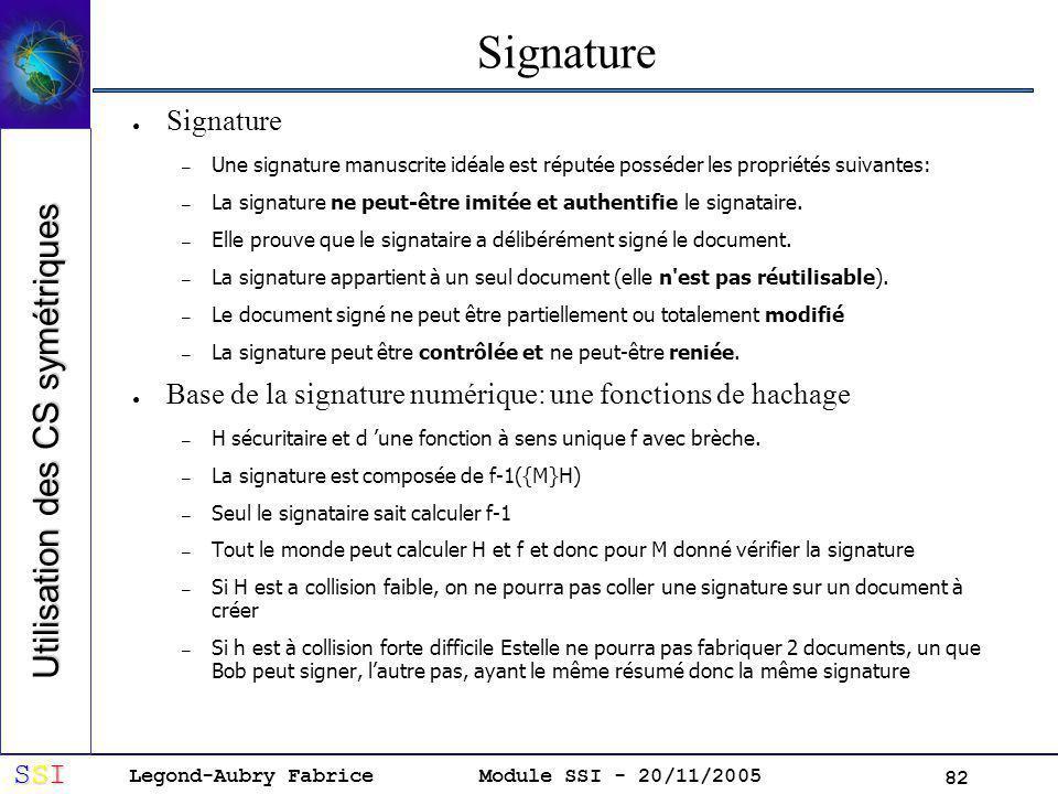 Legond-Aubry Fabrice SSISSISSISSI Module SSI - 20/11/2005 82 Signature – Une signature manuscrite idéale est réputée posséder les propriétés suivantes: – La signature ne peut-être imitée et authentifie le signataire.