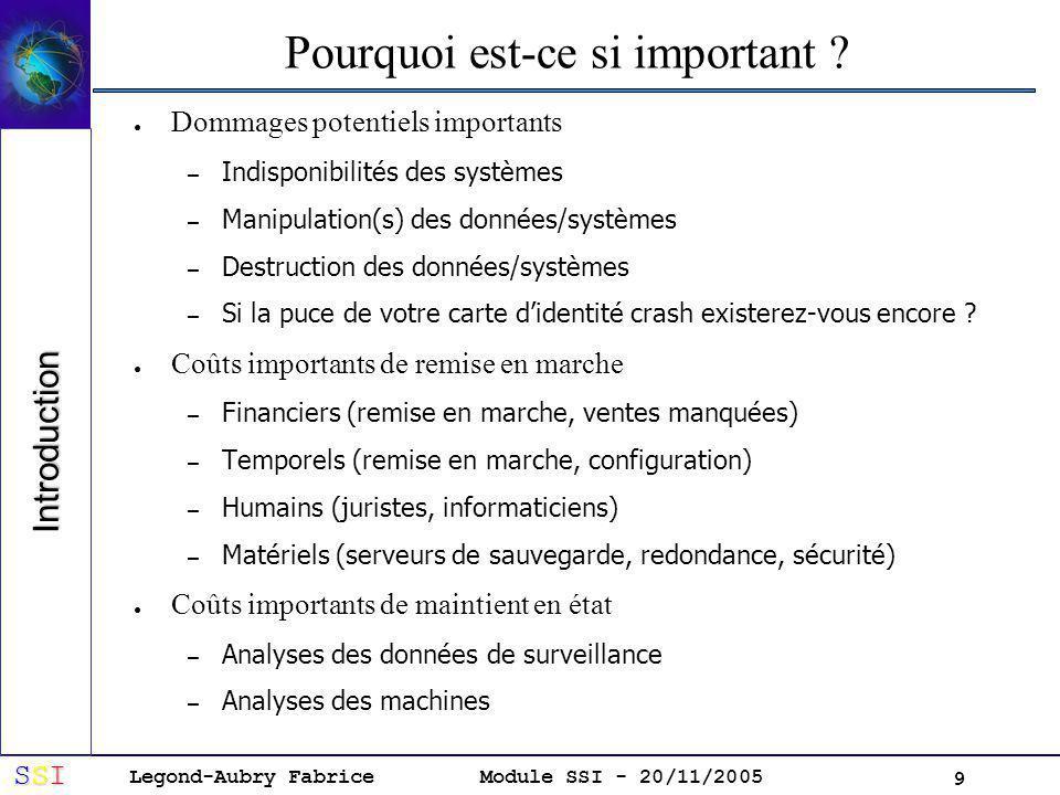 Legond-Aubry Fabrice SSISSISSISSI Module SSI - 20/11/2005 9 Pourquoi est-ce si important .