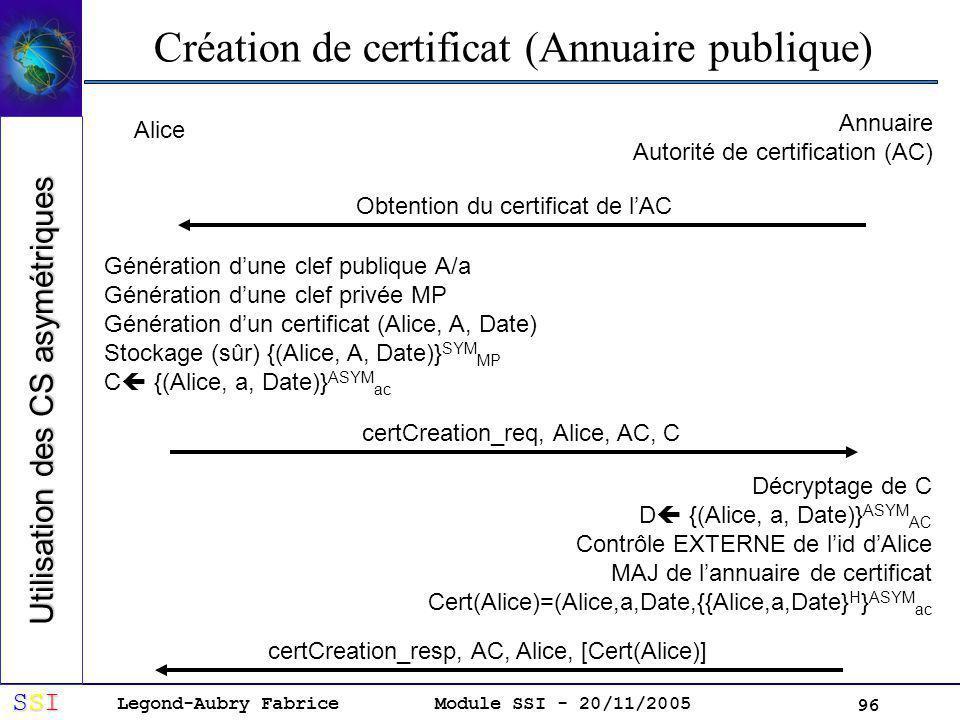 Legond-Aubry Fabrice SSISSISSISSI Module SSI - 20/11/2005 96 Création de certificat (Annuaire publique) Alice Annuaire Autorité de certification (AC) Génération dune clef publique A/a Génération dune clef privée MP Génération dun certificat (Alice, A, Date) Stockage (sûr) {(Alice, A, Date)} SYM MP C {(Alice, a, Date)} ASYM ac Obtention du certificat de lAC certCreation_req, Alice, AC, C Décryptage de C D {(Alice, a, Date)} ASYM AC Contrôle EXTERNE de lid dAlice MAJ de lannuaire de certificat Cert(Alice)=(Alice,a,Date,{{Alice,a,Date} H } ASYM ac certCreation_resp, AC, Alice, [Cert(Alice)] Utilisation des CS asymétriques