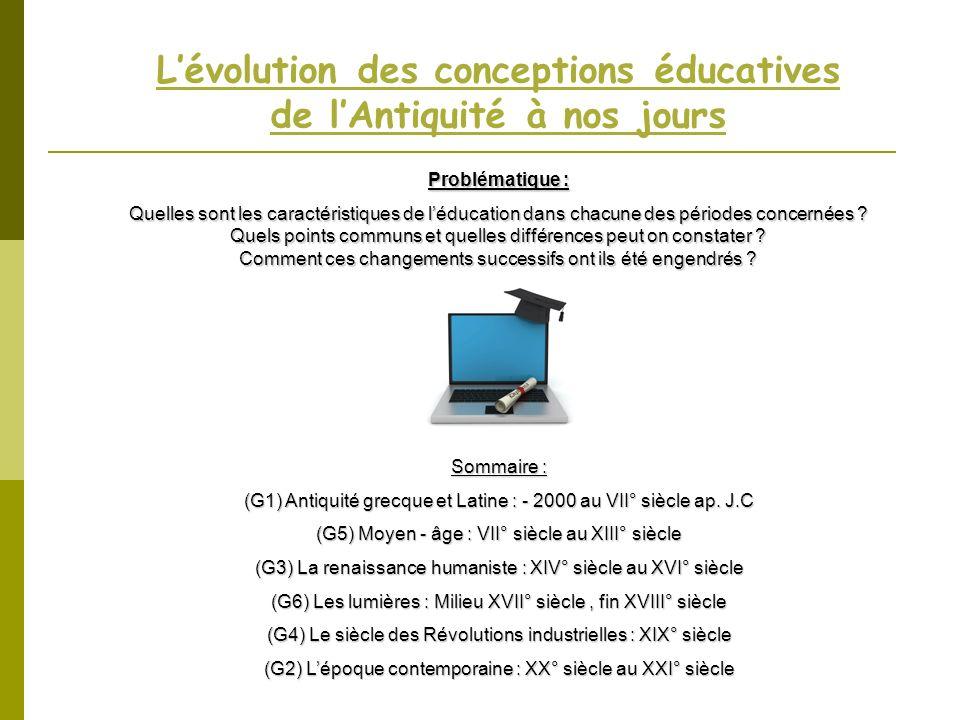 Lévolution des conceptions éducatives de lAntiquité à nos jours Problématique : Quelles sont les caractéristiques de léducation dans chacune des pério