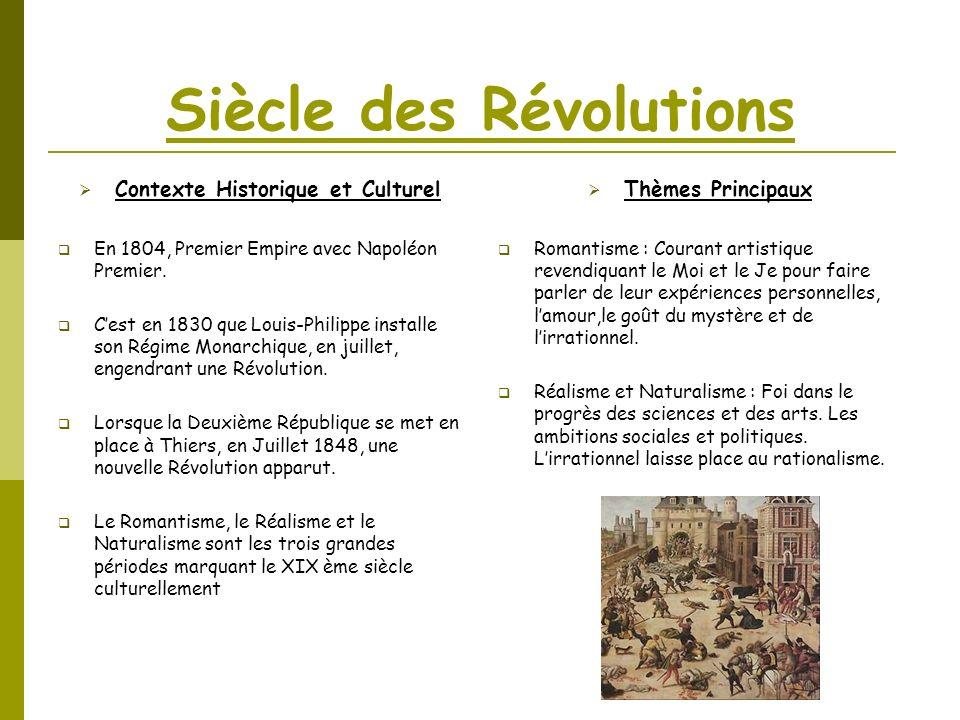Siècle des Révolutions Contexte Historique et Culturel En 1804, Premier Empire avec Napoléon Premier. Cest en 1830 que Louis-Philippe installe son Rég