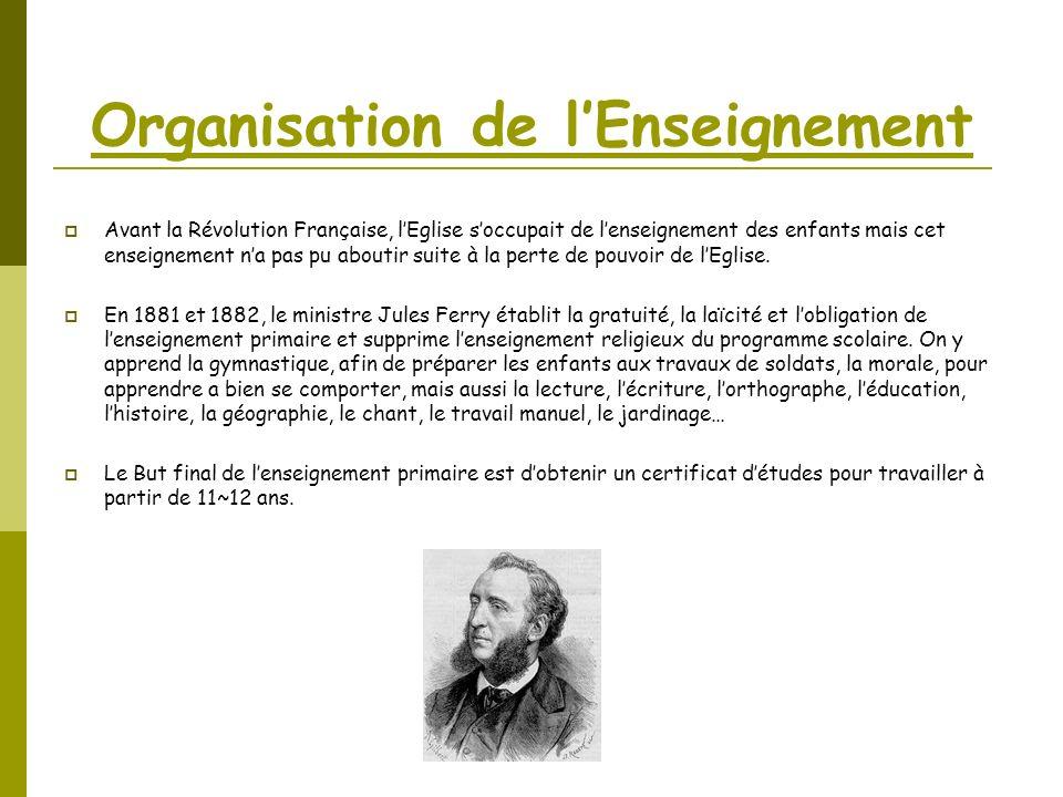 Organisation de lEnseignement Avant la Révolution Française, lEglise soccupait de lenseignement des enfants mais cet enseignement na pas pu aboutir su