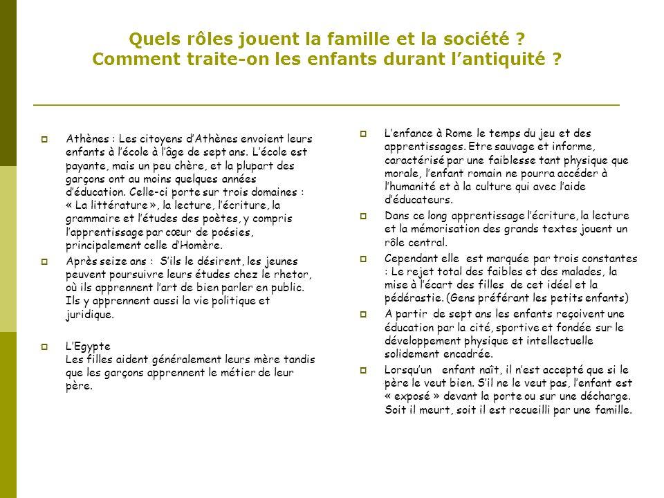 Quels rôles jouent la famille et la société ? Comment traite-on les enfants durant lantiquité ? Athènes : Les citoyens dAthènes envoient leurs enfants