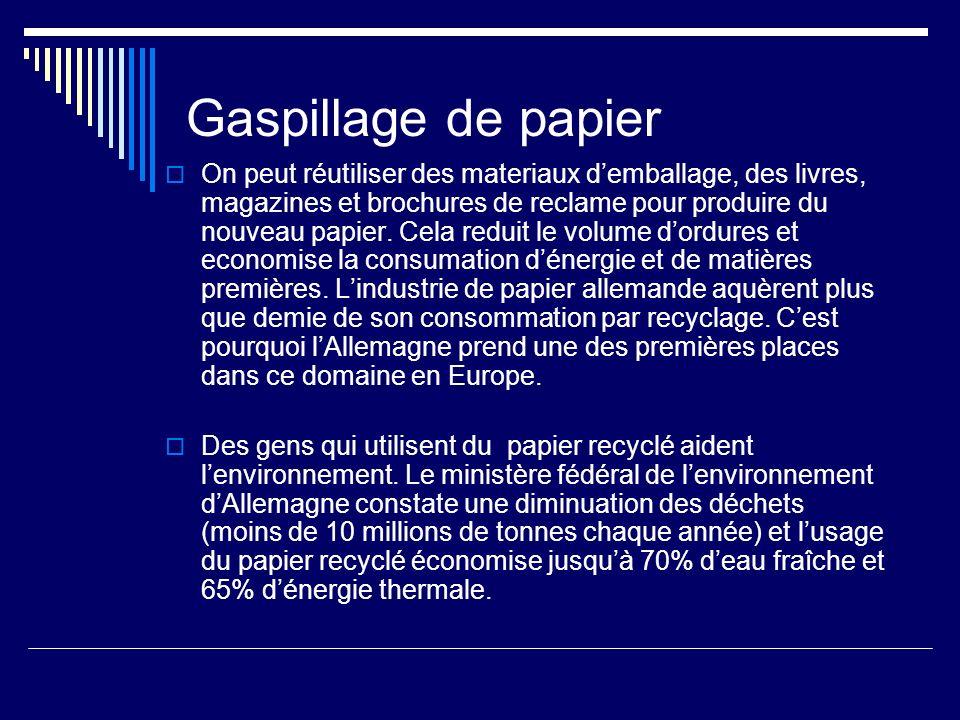 Gaspillage de papier On peut réutiliser des materiaux demballage, des livres, magazines et brochures de reclame pour produire du nouveau papier.