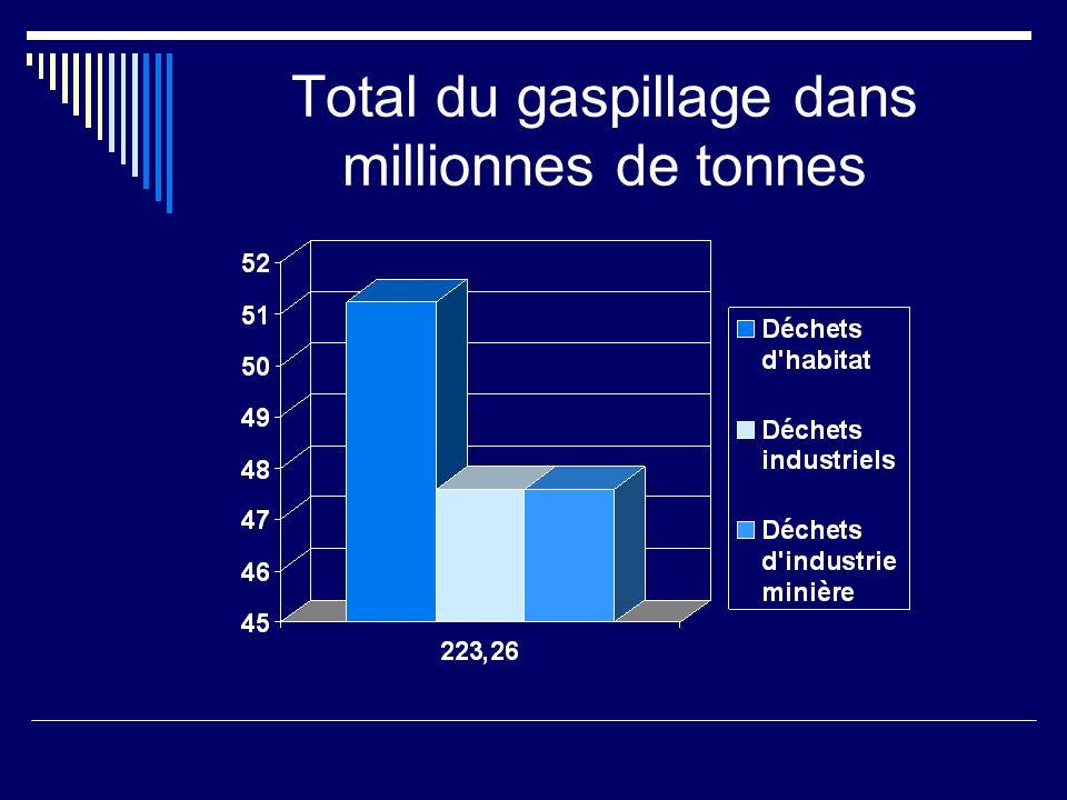 Total du gaspillage dans millionnes de tonnes