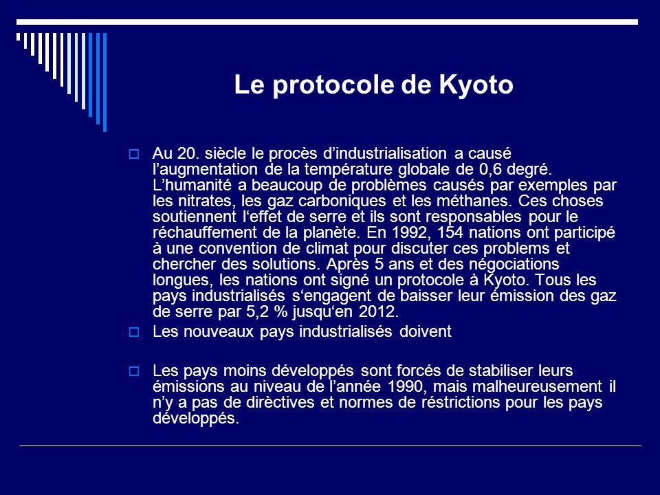 Le protocole de Kyoto Au 20.
