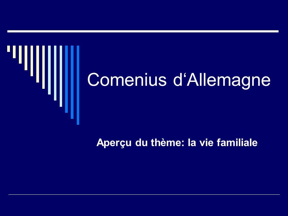Comenius dAllemagne Aperçu du thème: la vie familiale