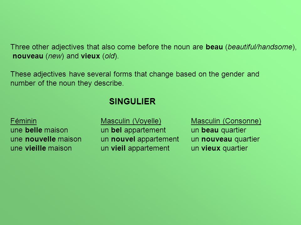 Three other adjectives that also come before the noun are beau (beautiful/handsome), nouveau (new) and vieux (old). These adjectives have several form
