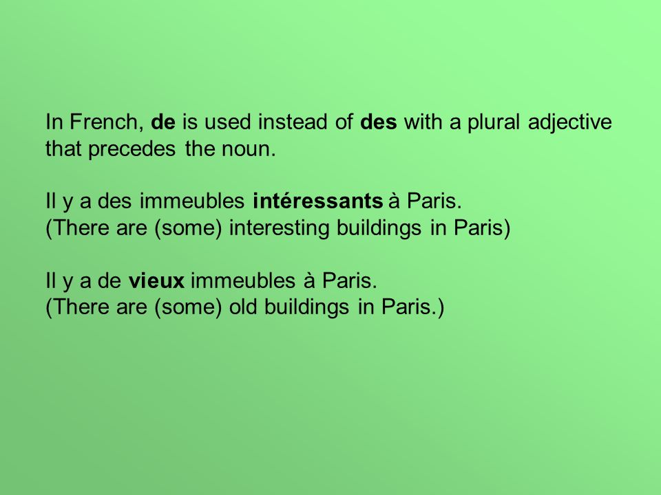 In French, de is used instead of des with a plural adjective that precedes the noun.