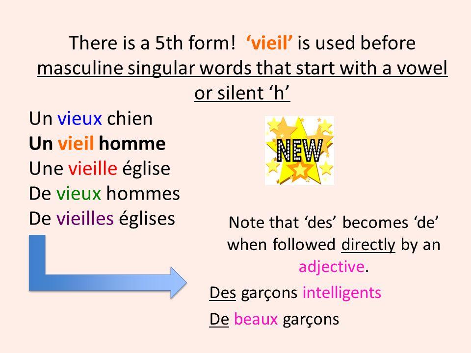 New nouveau – m/s nouvelle –f/s nouveaux –m/p nouvelles – f/p You should already know these 4 forms of the adjective.