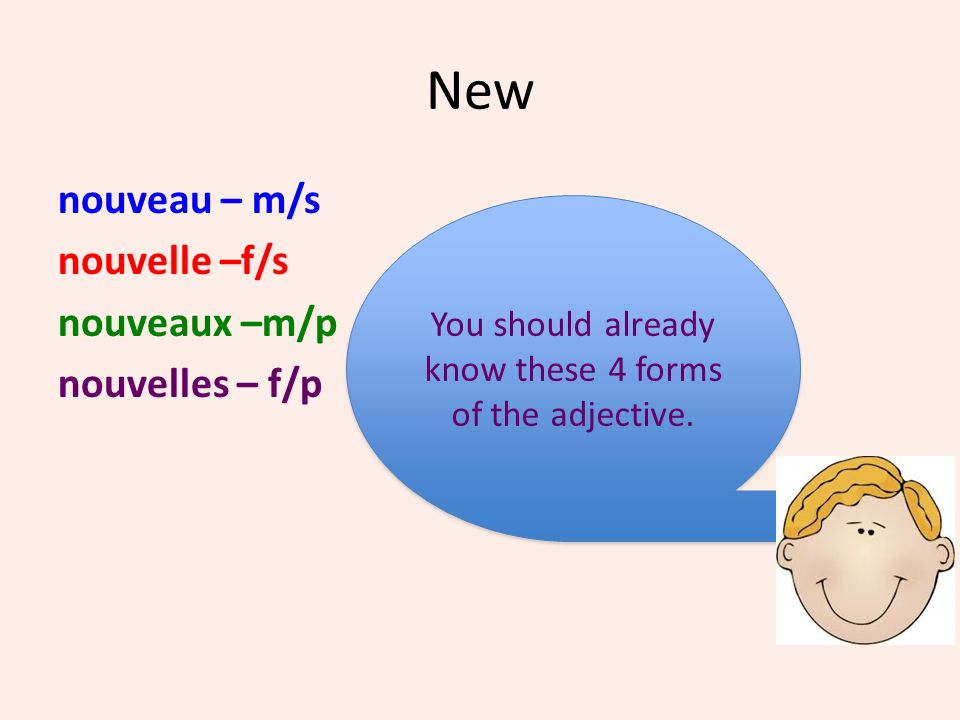 New nouveau – m/s nouvelle –f/s nouveaux –m/p nouvelles – f/p You should already know these 4 forms of the adjective. You should already know these 4