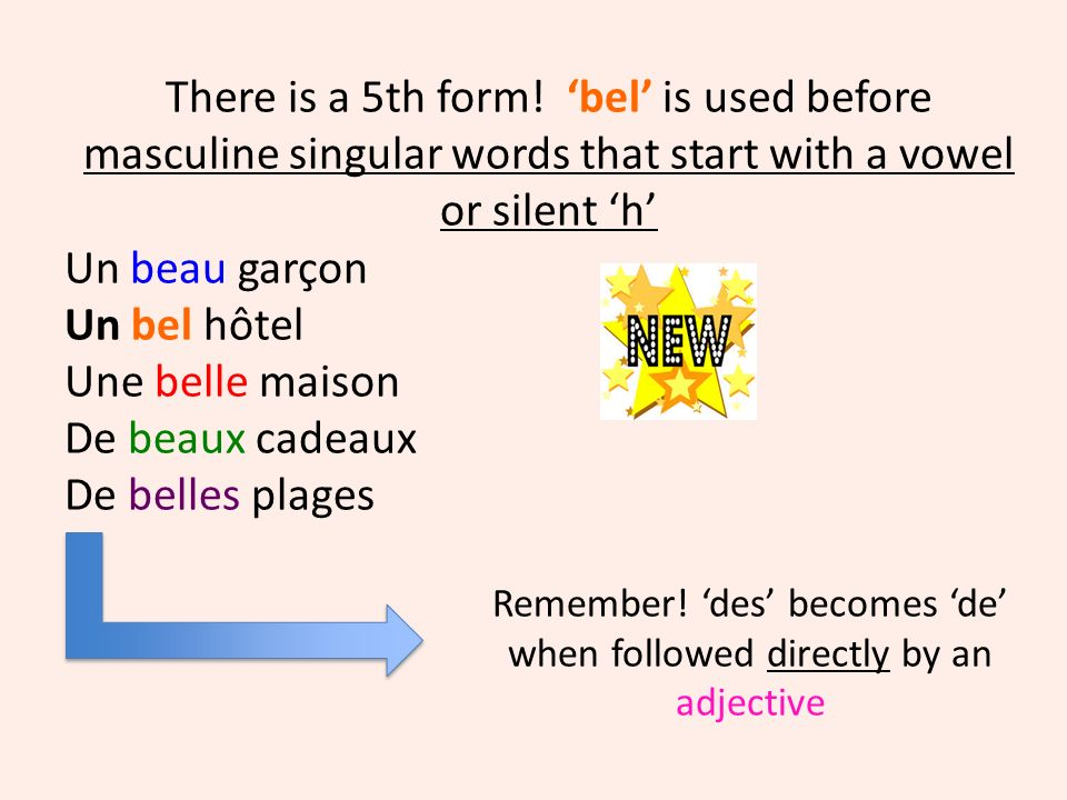 Remember! des becomes de when followed directly by an adjective There is a 5th form! bel is used before masculine singular words that start with a vow