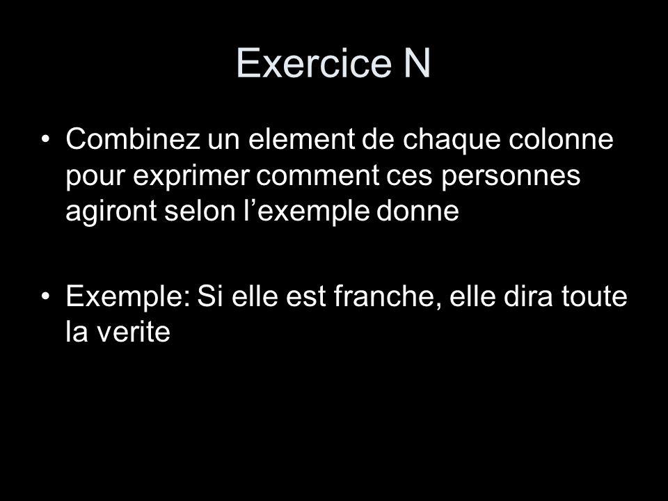 Exercice N Combinez un element de chaque colonne pour exprimer comment ces personnes agiront selon lexemple donne Exemple: Si elle est franche, elle d