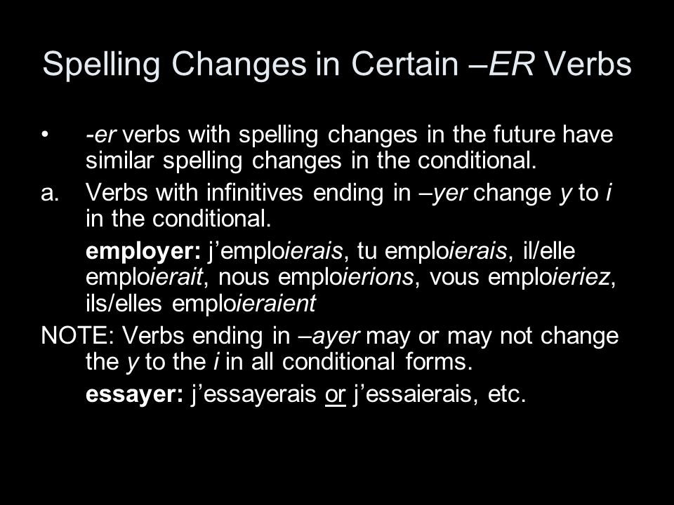 Spelling Changes in Certain –ER Verbs -er verbs with spelling changes in the future have similar spelling changes in the conditional. a.Verbs with inf
