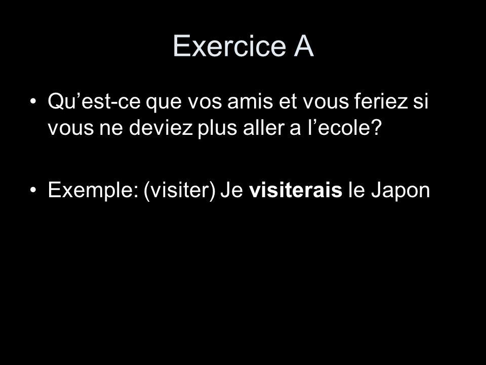 Exercice A Quest-ce que vos amis et vous feriez si vous ne deviez plus aller a lecole? Exemple: (visiter) Je visiterais le Japon