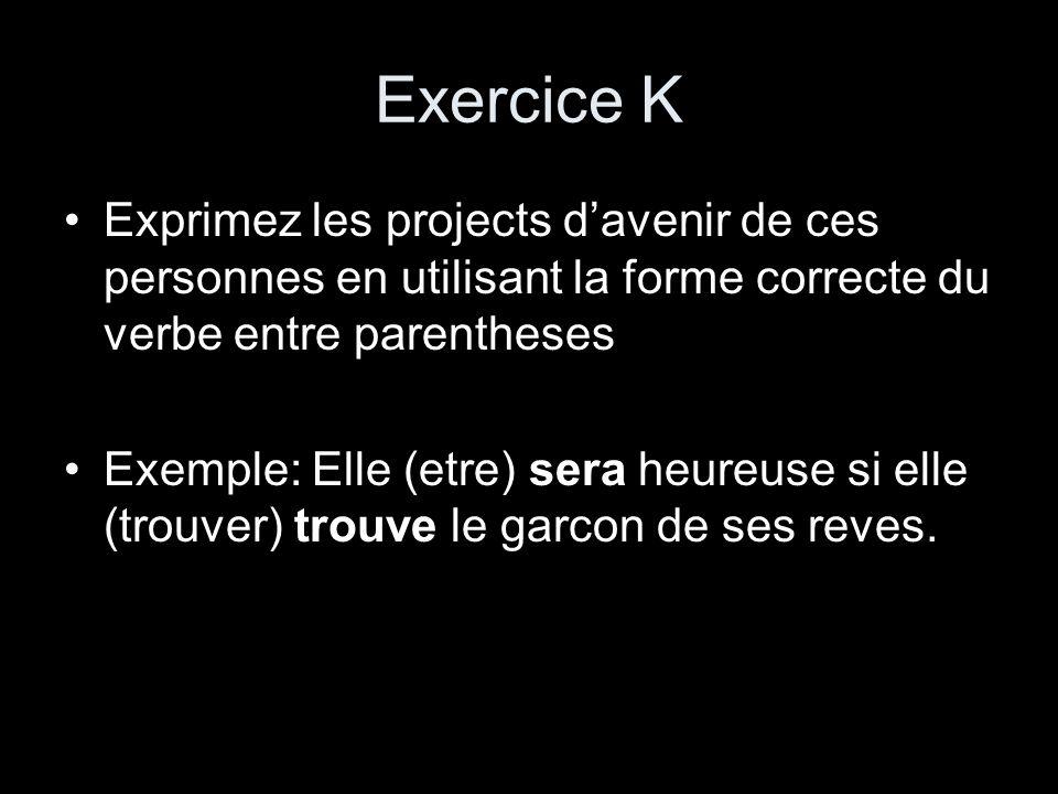 Exercice K Exprimez les projects davenir de ces personnes en utilisant la forme correcte du verbe entre parentheses Exemple: Elle (etre) sera heureuse
