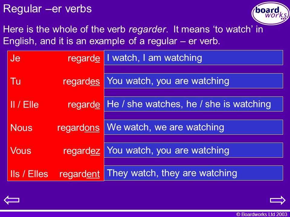 © Boardworks Ltd 2003 Regular –er verbs Here is the whole of the verb regarder. It means to watch in English, and it is an example of a regular – er v