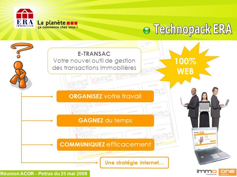 Réunion ACOR – Petrus du 25 mai 2008 E-TRANSAC Votre nouvel outil de gestion des transactions immobilières ORGANISEZ votre travail GAGNEZ du temps COM