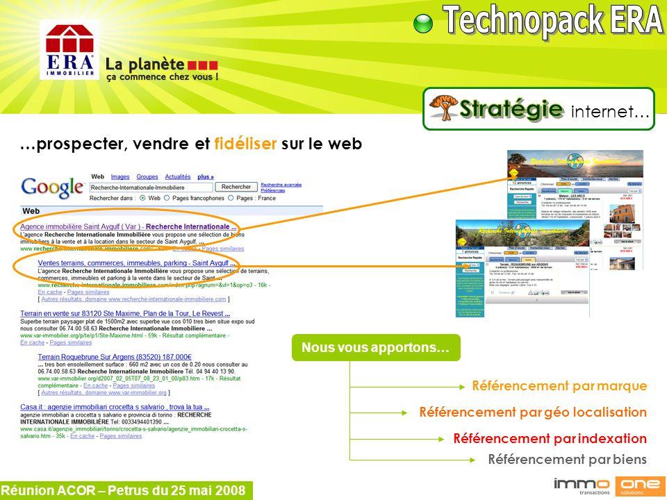 Réunion ACOR – Petrus du 25 mai 2008 …prospecter, vendre et fidéliser sur le web Référencement par marque Référencement par géo localisation Référence