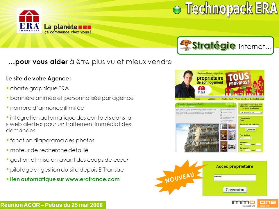 Réunion ACOR – Petrus du 25 mai 2008 …pour vous aider à être plus vu et mieux vendre Le site de votre Agence : charte graphique ERA bannière animée et