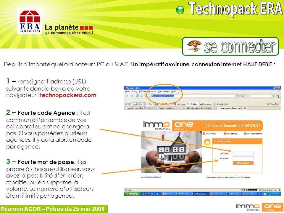 Réunion ACOR – Petrus du 25 mai 2008 Depuis nimporte quel ordinateur : PC ou MAC. Un impératif avoir une connexion internet HAUT DEBIT : 1 – renseigne