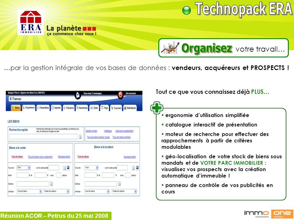 Réunion ACOR – Petrus du 25 mai 2008 …par la gestion intégrale de vos bases de données : vendeurs, acquéreurs et PROSPECTS ! Tout ce que vous connaiss