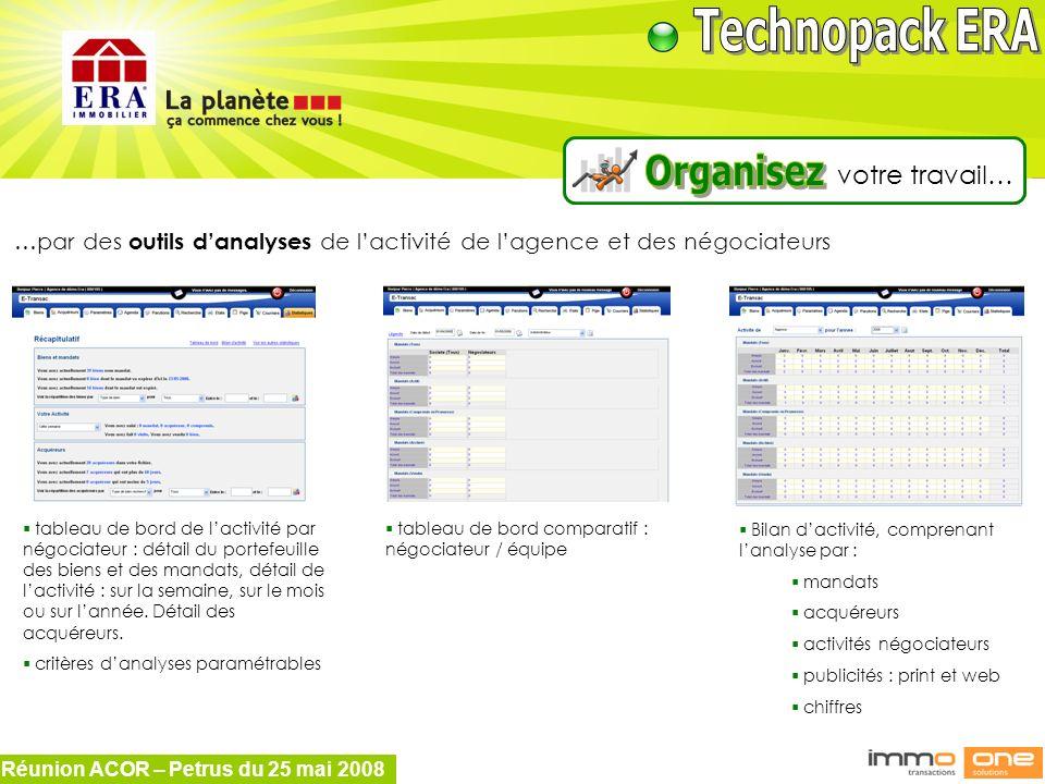 Réunion ACOR – Petrus du 25 mai 2008 votre travail… …par des outils danalyses de lactivité de lagence et des négociateurs tableau de bord de lactivité