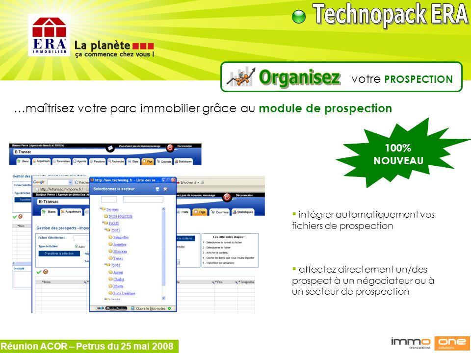 Réunion ACOR – Petrus du 25 mai 2008 100% NOUVEAU …maîtrisez votre parc immobilier grâce au module de prospection intégrer automatiquement vos fichier