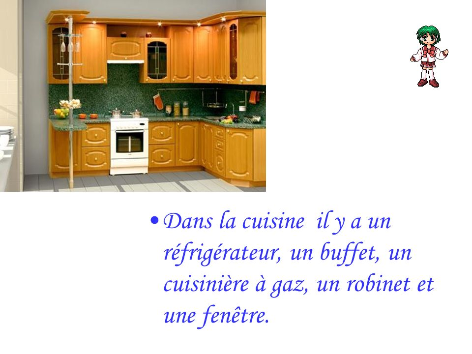 Dans la cuisine il y a un réfrigérateur, un buffet, un cuisinière à gaz, un robinet et une fenêtre.